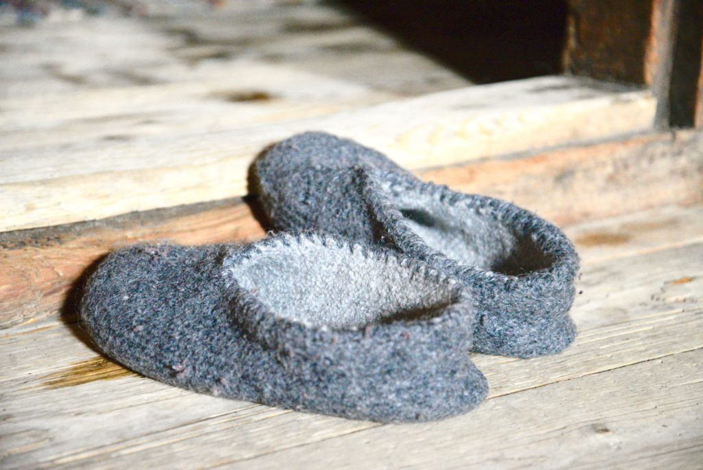 knitted and felted slippers