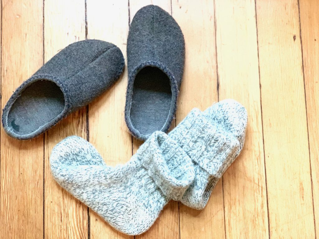 felted wool slippers and wool socks
