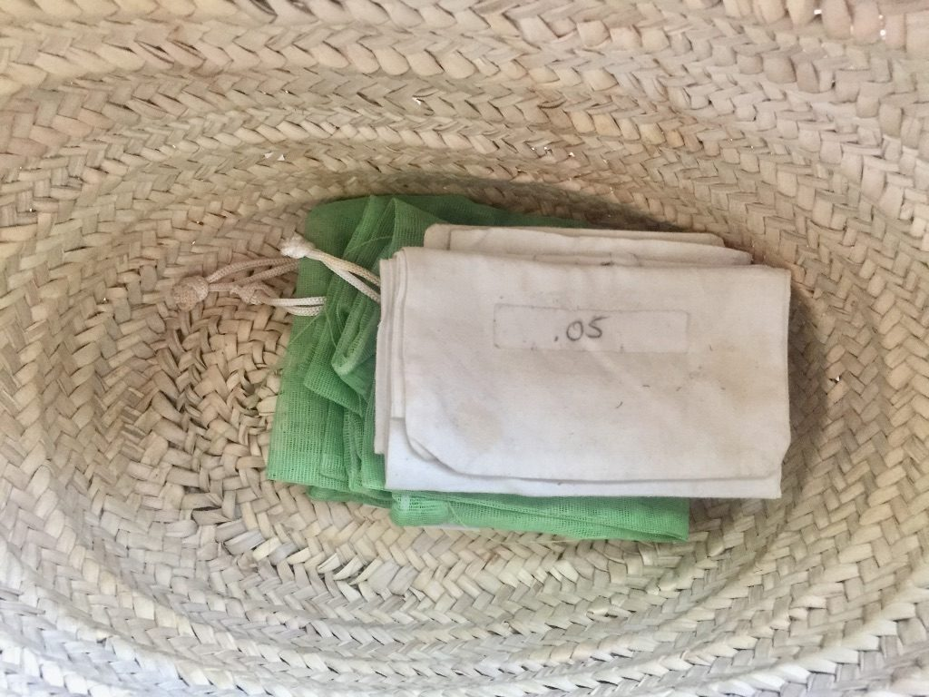 reusable bags in my grocery basket