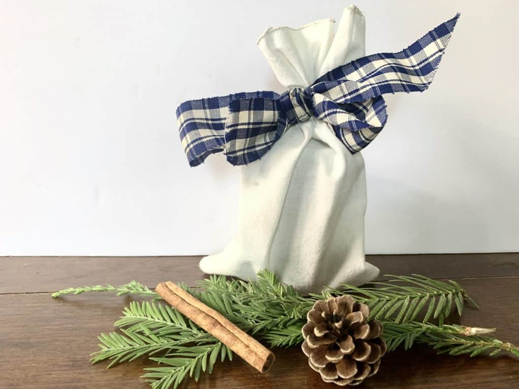 present wrapped in cloth bag