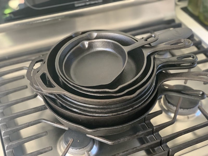 cast iron pans stacked