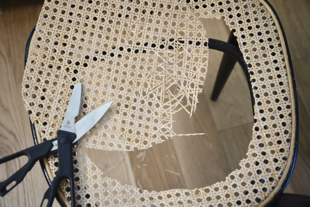 prepping the cane chair for repair