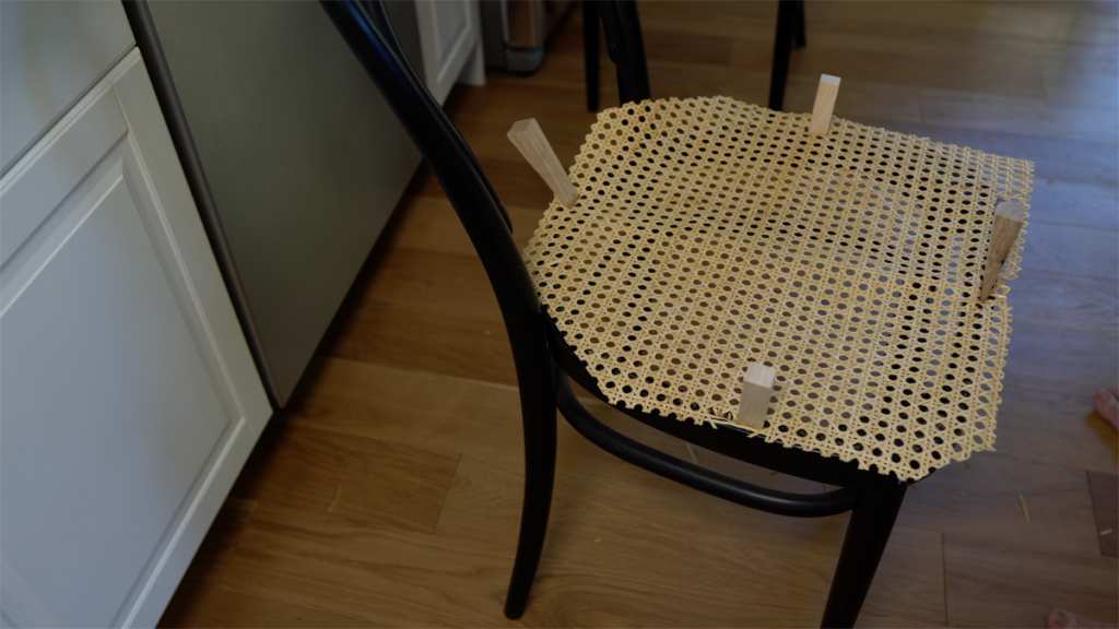 using wooden wedges for cane chair repair