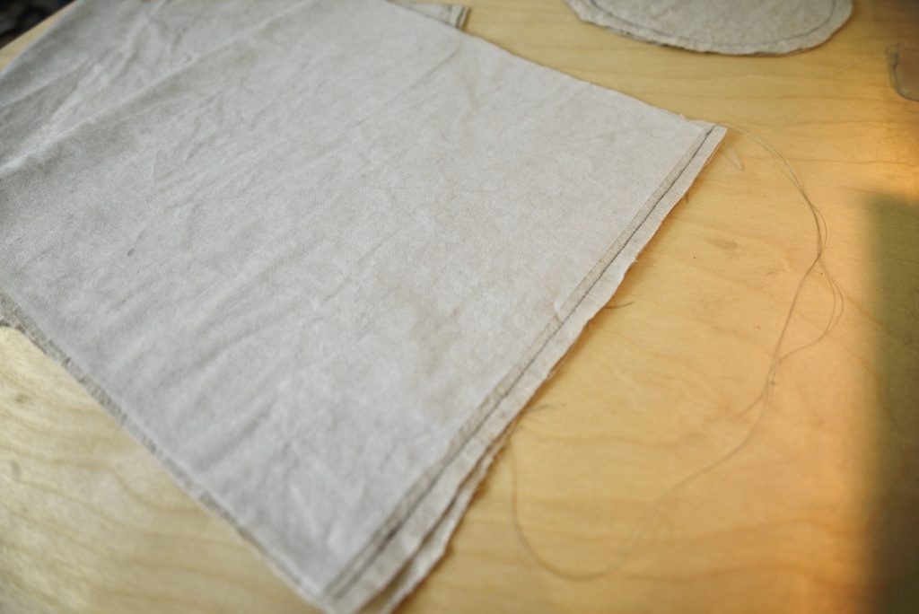 sewing linen pieces