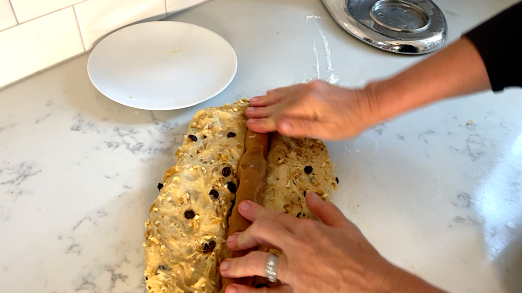 shaping the Christmas Stollen